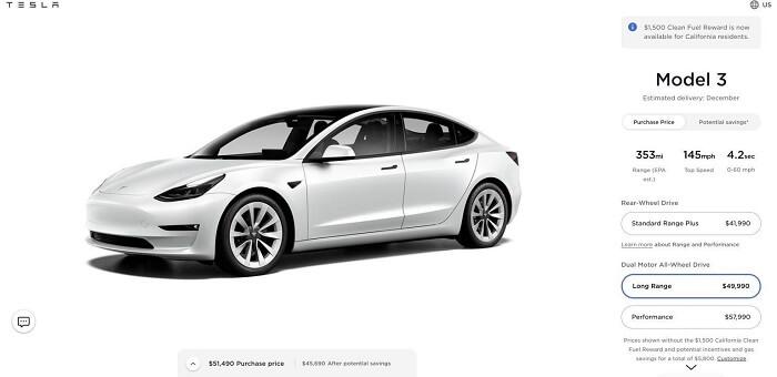 Prices of Tesla Model 3