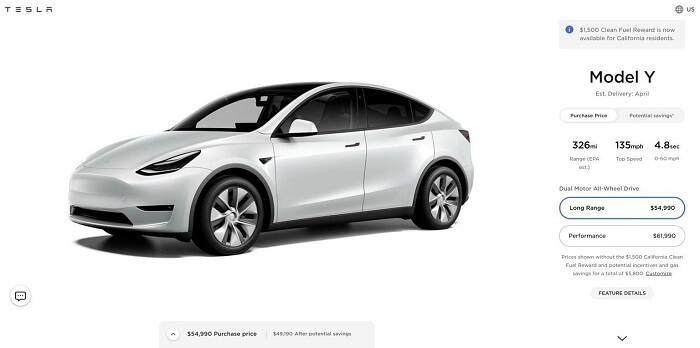 Prices of Tesla Model Y